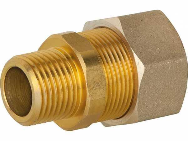 Verschraubung für Spiralrohr DN25x1'AG Messing mit Graphit Hochtemepraturdichtung