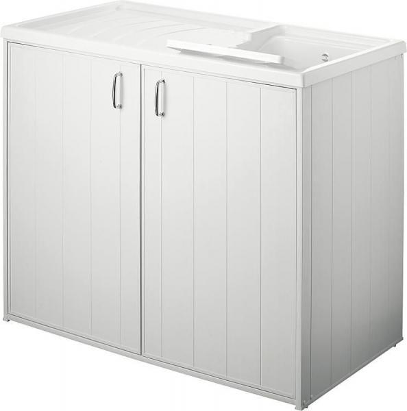 Kunststoff Ausgussbecken mit Waschmaschinenunterschrank und Türen