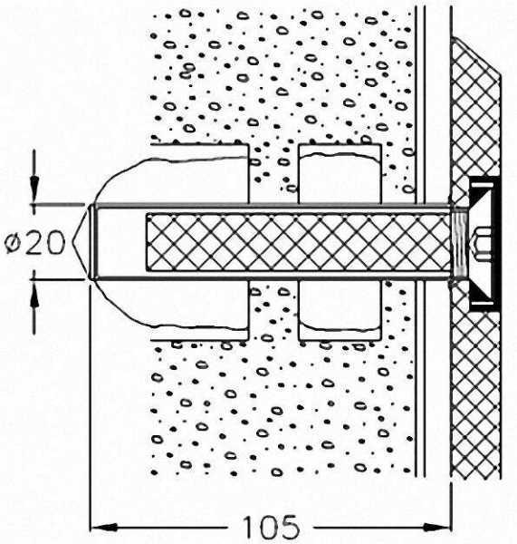 Montageset für Stützgriff und Duschklappsitze der Serie Cavere an Wänden aus Lochsteinen o. Vollbaus