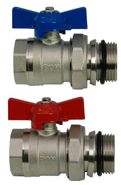 Kugelhahn-Set IG 1''xAG 1'' rot/blau für Heizkreisverteiler