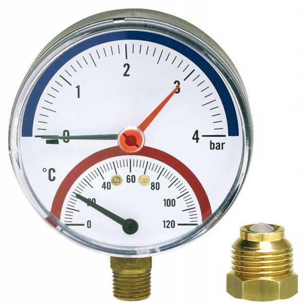 Watts Thermomanometer TM 80 radial 80mm durch, R 1/2'', 0-4 bar