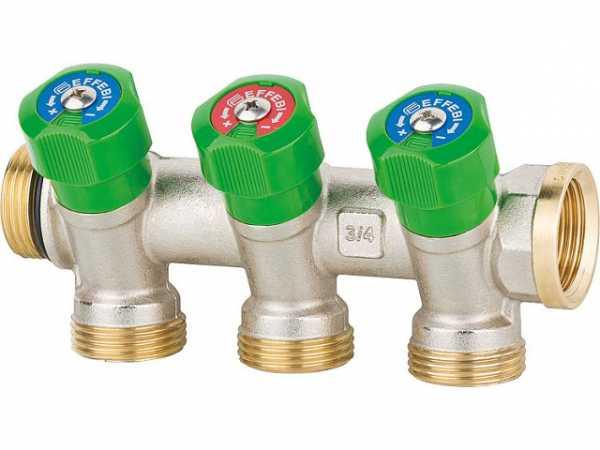 """Trinkwasserverteiler 3-fach DN 20 (3/4""""), PN16, absperrbar , Messing"""