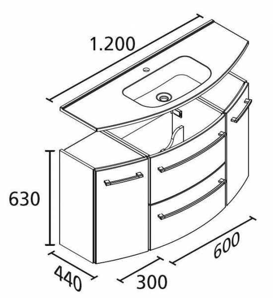 LANZET 7225512 S2. 1 Waschtischunterschrank: 120x63x45 weiß/Pin 2 Schubladen