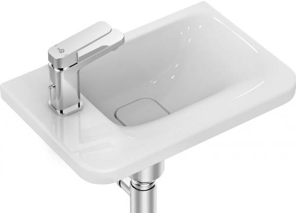 IDEAL STANDARD K0875MA Tonic II Handwaschbecken,45x31cm weiß/IdealPlus, ohne Überlauf, Ablage links
