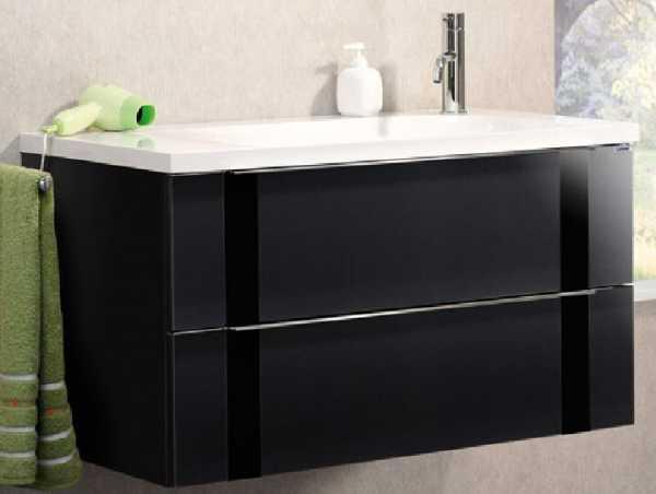 LANZET 7271812 VEDRO Waschtischunterschrank: + Becken 89x48x49Grafit/schwarz, 2 Schubladen