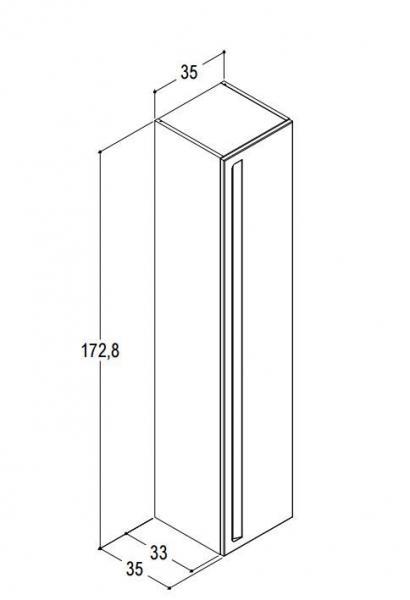 DANSANI P00132 Hochschrank mit 1 Tür mit integriertem Griff
