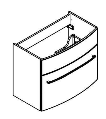 LANZET 7530512 S2 Waschtischunterschrank:, 60x63x45cm,Weiß/Eiche Maron, 1 Schublade