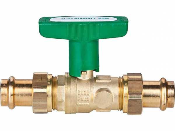 System-Kugelhahn Uniwater mit Entleerung 2xViega Profipress- Verschraubungen DN50 54x54mm