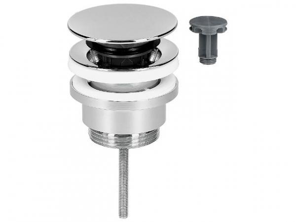Schaftventil Klicker/feststehend Abdeckplatte verchromt, Ø 63 mm, Länge = 0-70 mm, Universal