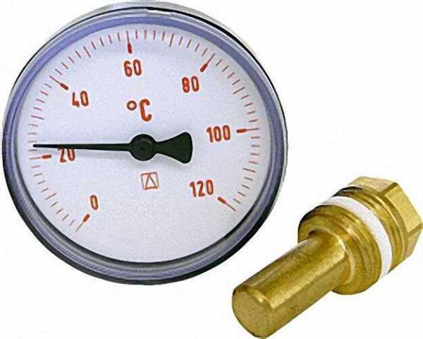 AFRISO Bimetall-Thermometer 0-120 °C 63mm durch., Kunststoffgehäuse rot (ohne Kugelhahn)