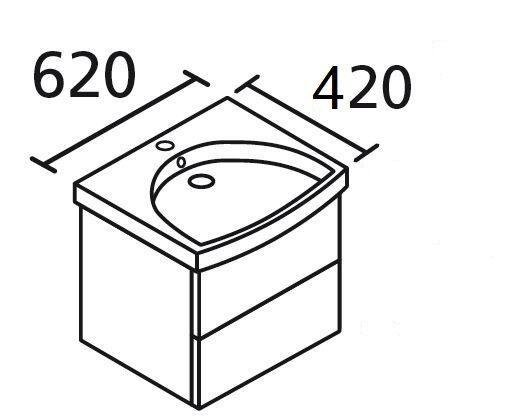 LANZET 7118612 K3 Waschtischunterschrank: 58/48/33,5 Weiß/Pinie, 2 Schubladen