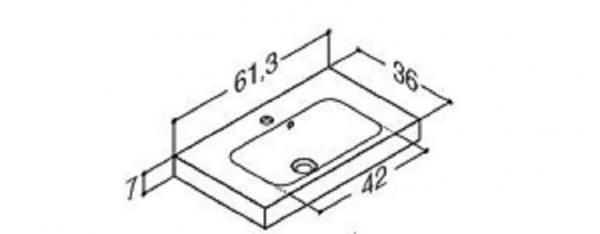 DANSANI 534306003 Mini Menuet Porzellanwaschtisch 61,3 cm