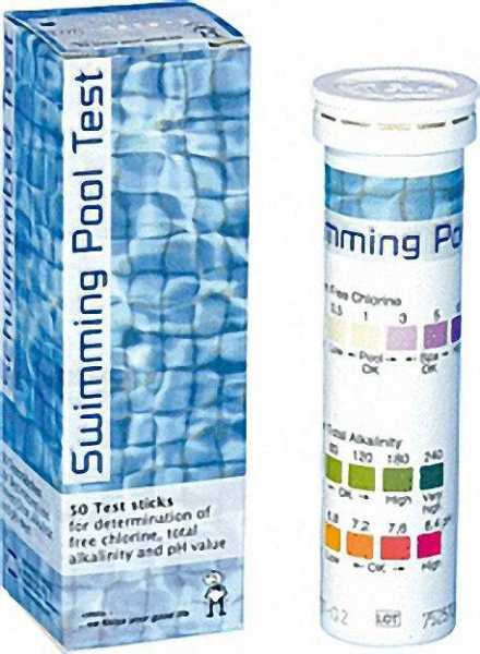 Schwimmbad Test zur Bestimmung von Chlor, Gesamtchlor, Alkalinität Gesamthärte und pH