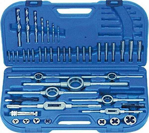 Gewindeschneidwerkzeugsätze mit Spiralbohrern M 3 - M 12 im Kunststoffkoffer, 45-teilig