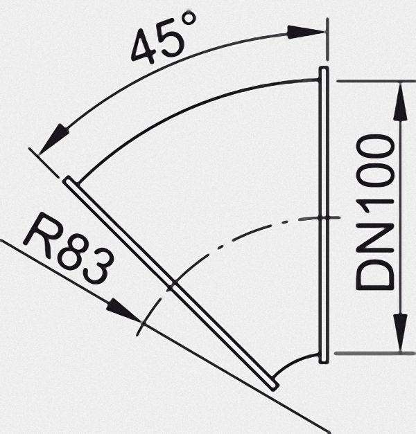 7513063 Rohrbogen mit Bördelrand, 45 Grad, DN 100, verzinkt,