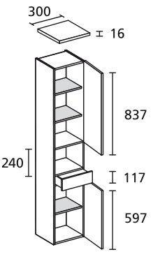 LANZET 7423212 Hochschrank 30/182/30 rechts Dekor Dark Oak 2 Türen / 1 Schublade Ni