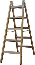 Stufen-DoppelLeiter (Holz) Arbeitshöhe 4,10 Standhöhe 2,85 Lönge 2,91 Stufen 2x10