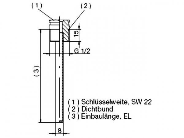 JUMO 60003177 Schutzrohr für 1 Fühler 100 mm, Messing / vernickelt