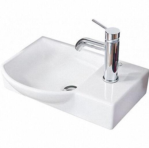 LANZET 7139912 K3 Gäste-WC Keramik-Waschtisch weiß links 45x10,5x32