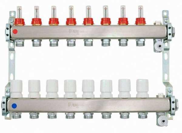 Heizkreisverteiler aus Edelstahl für Fußbodenheizung Profi-Ausführung 8-fach