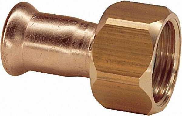 Rotguß Pressfitting halbe Verschraubung 22x1'' IG Typ 6359, flachdichtend