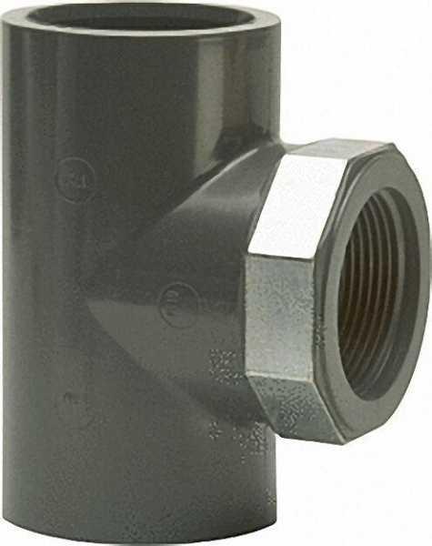 PVC-U - Klebefitting T-Stück, 32mm x 1'', zylind. Gewinde am Abgang