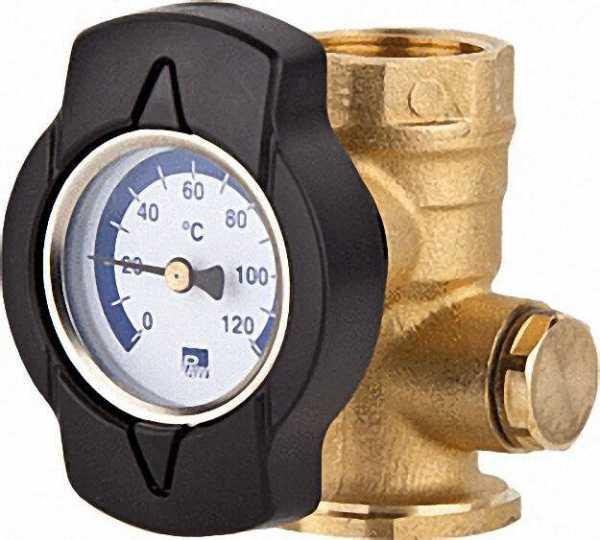 Thermometerkugelhahn TK mit Zeigerthermometer blau 1 1/4''Flansch 1 1/4''IG