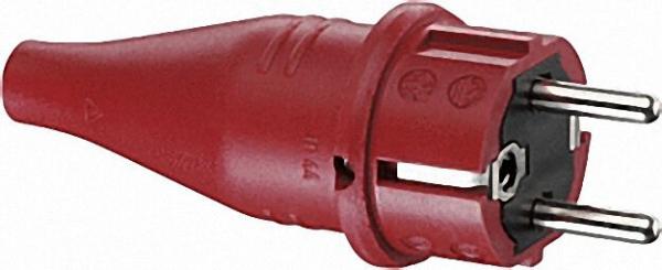 Gummi-Schutzkontaktstecker rot, 16A 250V IP 44