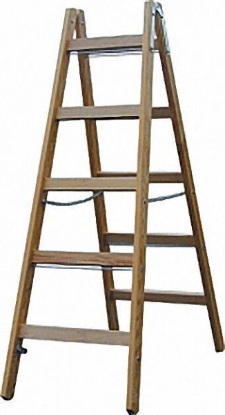 Sprossen-Doppel-Leiter (Holz) Arbeitshöhe 3,00 Leiterhöhe 1,40 2x5 Sprossen