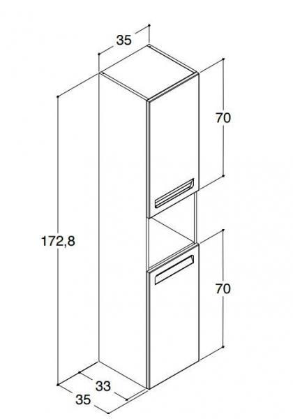 DANSANI P00122 Hochschrank mit 2 Türen und integr. Griffen Weiß matt