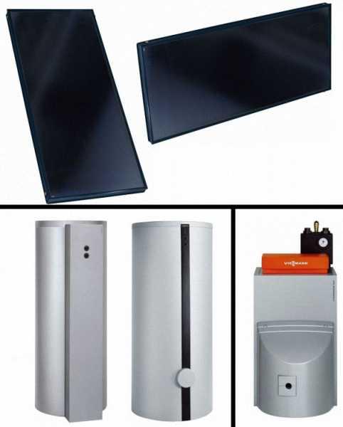 VIESSMANN Solarpakete Vitosol 200-FM, Vitorondens 200-T 20,2 kW (o. Mischer) & Vitocell 100-B/-U