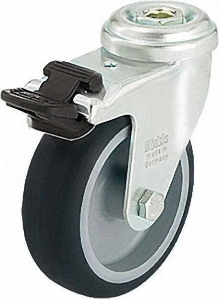 BLICKLE Lenkrolle mit Feststeller LRA-TPA 50G-FI, Tragfähigkeit 50 kg Rad D= 50mm, Rückenloch 11mm