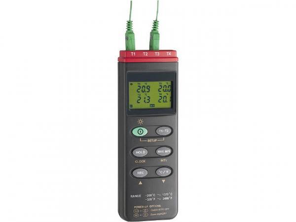 4-Kanal-Thermoelementmessgerät TC309 Inkl. Blockbatterie 9V