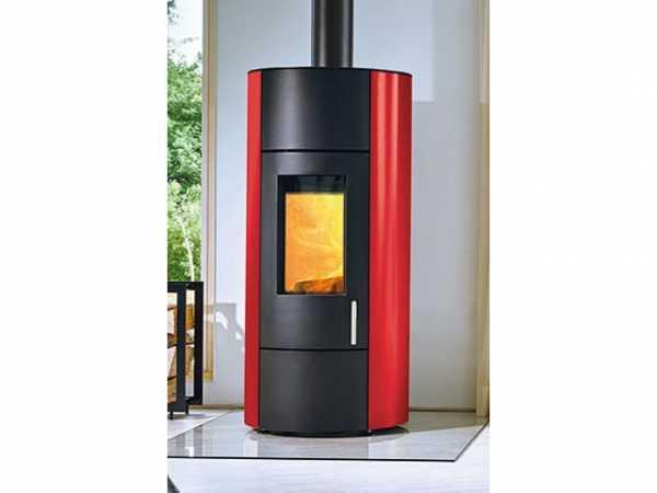 Buderus Kaminofen CEO water+, 8 kW, Seitenverkleidung red, Stahl black, rlu, 7736601184