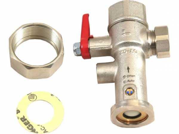 WOLF 2400502 Absperrarmatur 1'Vorlauf mitRückflussverhinderer ohne Thermometer