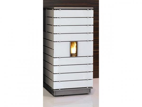 Buderus Pellet-Primärofen ivo.tec, 3-13 kW, Glas white, Stahl silbermetallic, Steuerung S5 Komfort, 7747221024