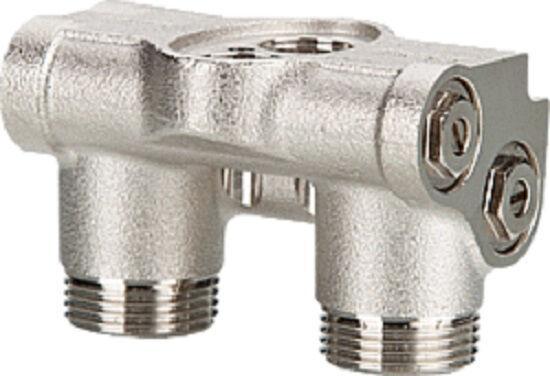 Kombi-Hahnblock links/rechts für Seven und Simun Super Aluminiumheizkörper, Durchgang