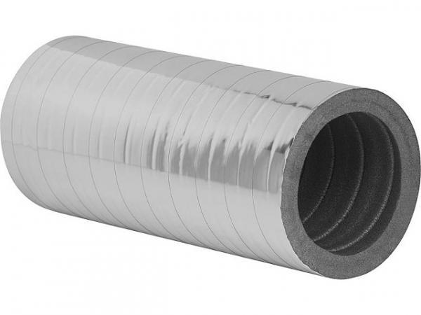 Dämmrohr DN125, L=1000mm mit Alubeschichtung, 20mm Wandstärke
