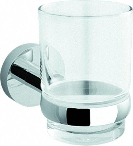 Glashalter einfach Serie 8000 Messing, verchromt Opalglas