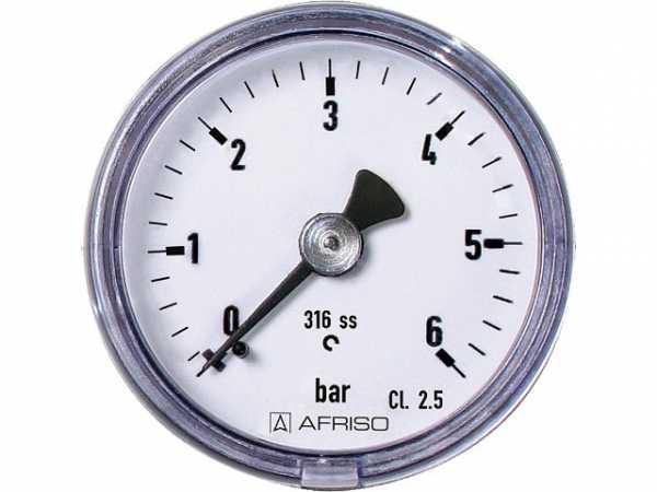 Manometer Edelstahl 0-10 bar 40 mm, axial 1/8' DN 6 1/8' axial