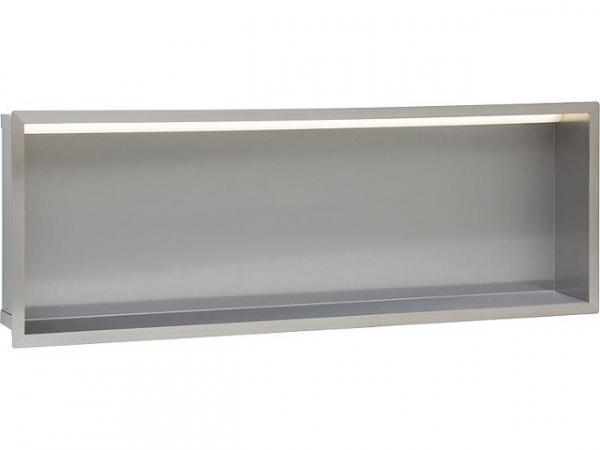 Wandnische Edelstahl, LED Beleuchtung, Tiefe 100 mm, 105 Lumen, 230V, 8.4W, BxH: 925x325 mm Bad Edelstahl-Wandeinbaunische