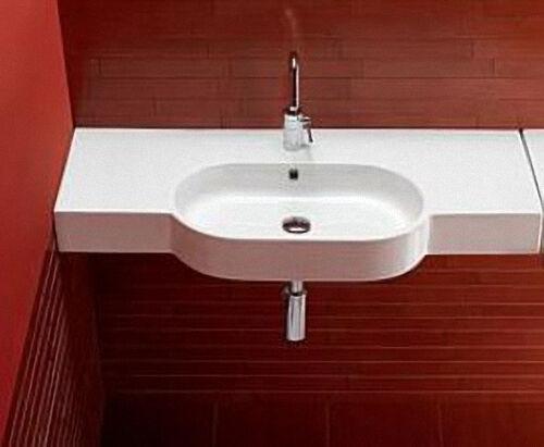 Waschtisch, Waschbecken AREA aus Keramik mit 1 Hahnloch, weiß, BxHxT:810x110x450mm