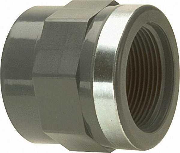 PVC-U - Klebefitting Übergangs-Gewindemuffe, 50mm x 1 1/2'', IG