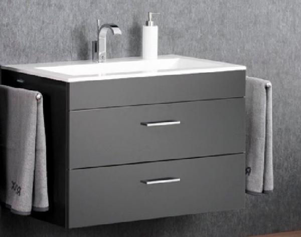 LANZET 7151712 P5 Waschtischunterschrank: 88/60/55, Grafit/Grafit, 2 Schubladen