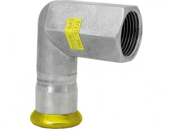 Edelstahl Pressfitting Gas Übergangswinkel 90° mit IG, 22x3/4