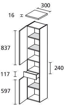 LANZET 7133712 Hochschrank 30/182/30 links Weiß/Grafit 2 Türen / 1 SchubladeN