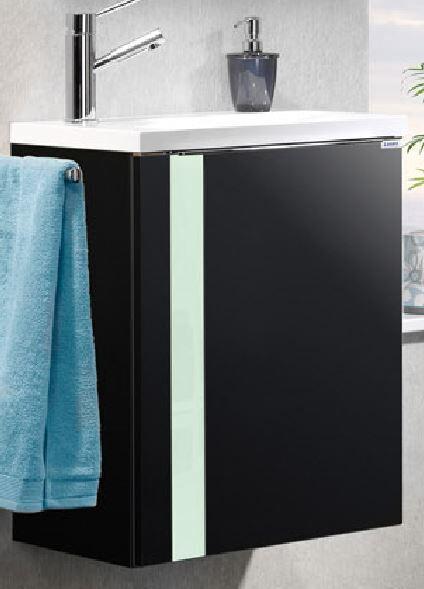 LANZET 7273712 VEDRO Waschtischunterschrank: + Becken 49x60x32 rechts Grafit/mint, 1 Tür