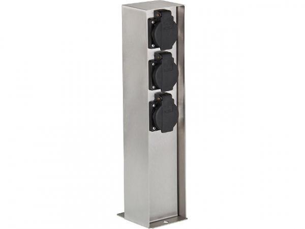 Garten-Steckdosensäule aus Edelstahl, 3x Schutzkontakt- steckdose 230V, 50Hz