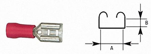 Flachsteckhülse halbisoliert bis 1,5mm², 2, 8 x 0, 8mm Farbe rot, VPE = 100 Stück