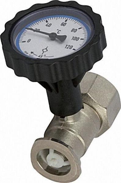 RL Pumpenflanschkugelhahn 1 1/4'' mit Thermometerhandgriff blau und Schwerkraftbremse